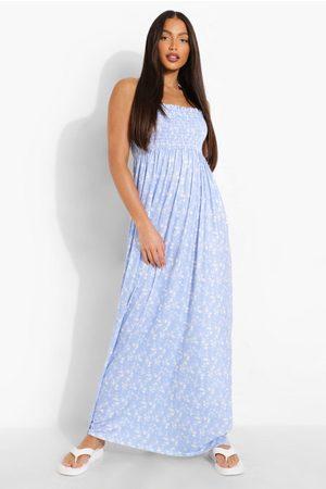 Boohoo Tall Ditsy Floral Shirred Bandeau Maxi Dress