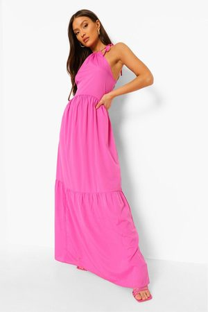 Boohoo Halterneck Tiered Maxi Dress