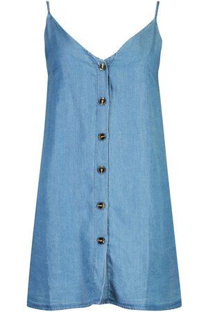 Boohoo Denim Chambray Button Through Slip Dress