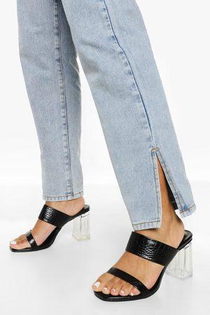 Boohoo Dame Flip flops - Wide Fit Clear Heel Croc Mule