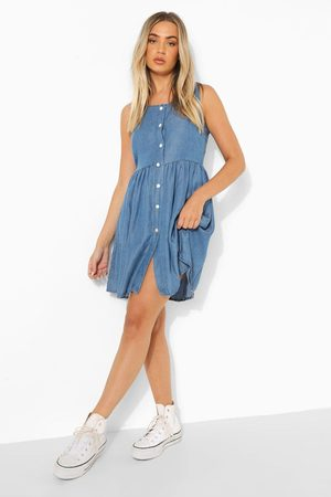 Boohoo Dame Jeanskjoler - Button Down Floaty Denim Mini Dress