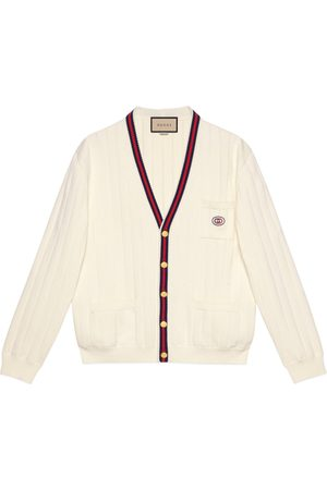 Gucci Herre Cardigans - Knit cotton V-neck cardigan with Web
