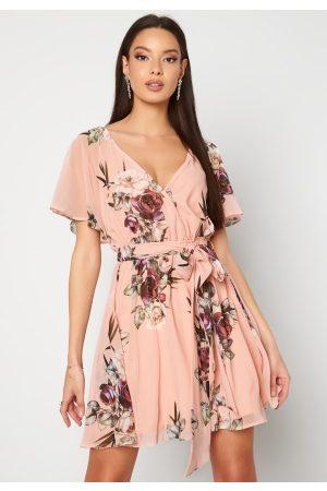 Goddiva Floral Flutter Dress Peach XXL (UK18)