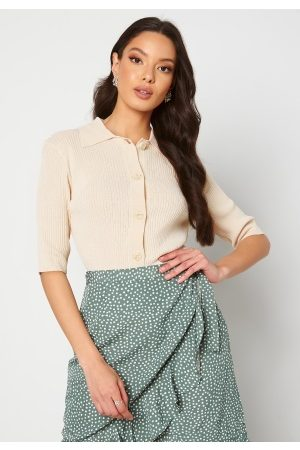 SELECTED Ally SS Knit Poloneck Sandshell S