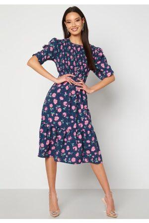 John Zack Floral Smock Midaxi Dress Blue XL (UK16)