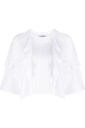 VALENTINO Dame Kortermede - Lace panel cropped T-shirt