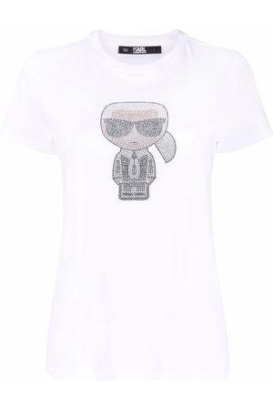 Karl Lagerfeld Dame Kortermede - Ironik Karl gem-embellished T-shirt