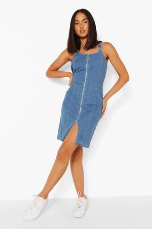 Boohoo Zip Up Buckle Denim Pinafore Dress