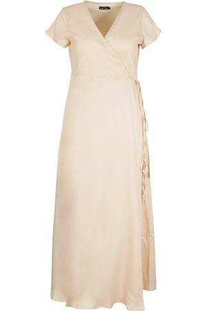 Boohoo Plus Woven Wrap Front Maxi Dress