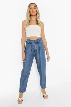 Boohoo Belted Pleat Front Denim Cropped Trouser