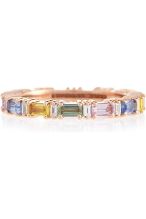Suzanne Kalan Rainbow Fireworks 18kt rose gold eternity ring with diamonds and sapphires