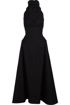 Bottega Veneta Halterneck cotton twill midi dress