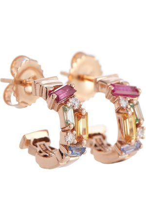 Suzanne Kalan Ella Rainbow 18kt rose gold earrings with diamonds and sapphires