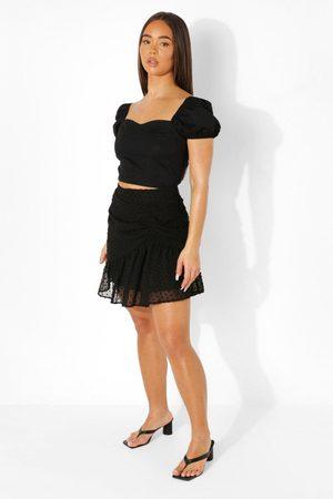 Boohoo Dobby Mesh Asymmetric Mini Skater Skirt