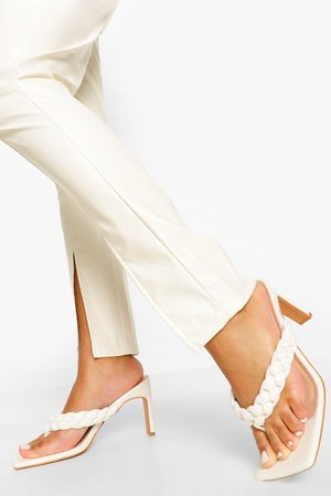 Boohoo Dame Flip flops - Square Toe Plaited Toe Post Mule