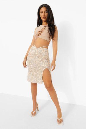 Boohoo Strappy V Waist Leopard Midi Skirt