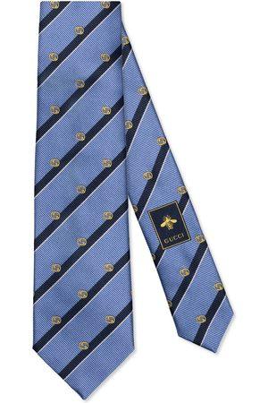 Gucci Herre Slips - Striped silk tie with Interlocking G