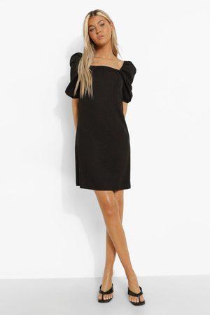 Boohoo Tall Puff Sleeve Denim Mini Dress