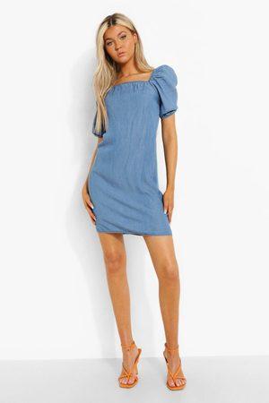 Boohoo Dame Jeanskjoler - Tall Puff Sleeve Denim Mini Dress