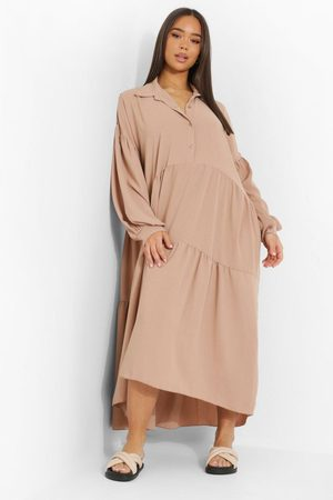 Boohoo Dame Hverdagskjoler - Oversized Tiered Maxi Shirt Dress