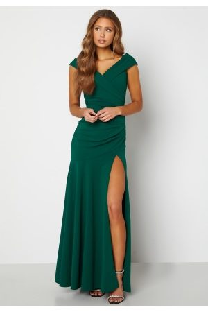 Goddiva Bardot Pleat Maxi Split Dress Emerald XS (UK8)