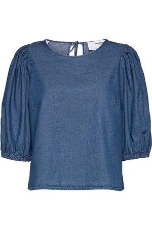 SELECTED Slfclarisa Puff Sleeve Top U Bluse Langermet