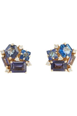 Suzanne Kalan Love 14kt yellow gold earrings with diamonds and topaz