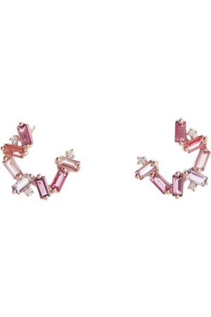 Suzanne Kalan Zuri 14kt rose gold earrings with topaz, rhodolite and diamonds