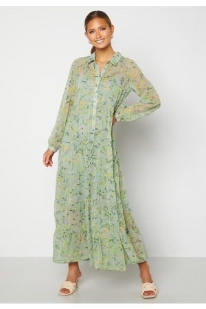 Happy Holly Elsie Maxi Dress Green / Floral 44/46
