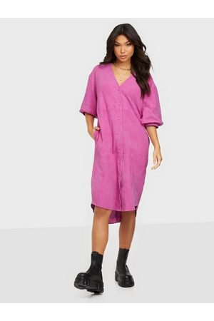 Selected Femme Dame Hverdagskjoler - Slfvanessa 2/4 Leather Shirt Dress