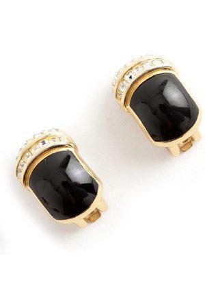 Dior Pre-owned Vintage Rectangular Enemal Crystal clip on earrings