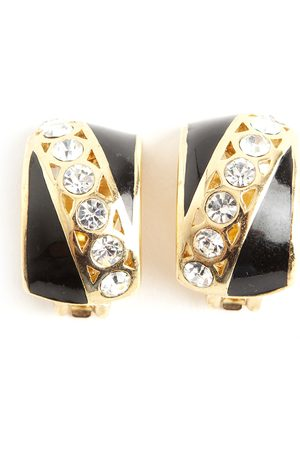 Dior Pre-owned Authentic Art Deco chrystal clip on earrings
