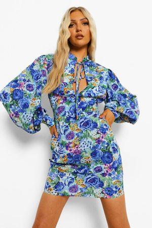 Boohoo Floral Print High Neck Mini Dress