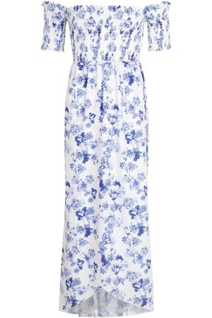 Boohoo Floral Shirred Off The Shoulder Wrap Maxi Dress