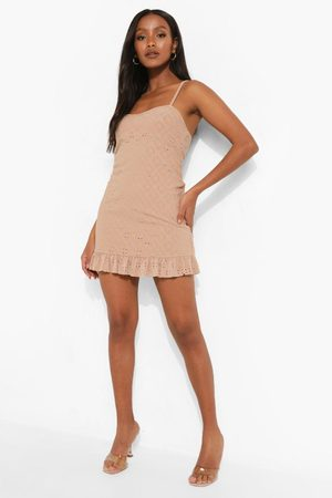 Boohoo Petite Jersey Broderie Ruffle Cami Dress