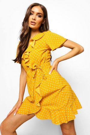 Boohoo Woven Polka Dot Wrap Front Ruffle Tea Dress