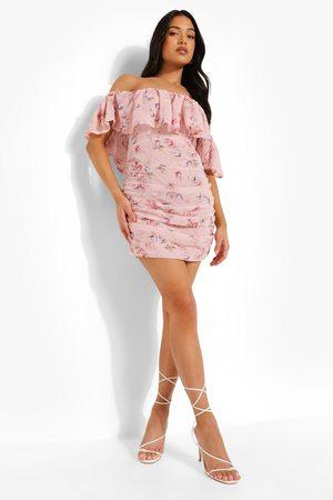 Boohoo Petite Floral Ruffle Bardot Mini Dress