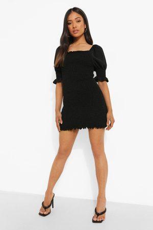 Boohoo Petite Short Sleeve Shirred Mini Dress
