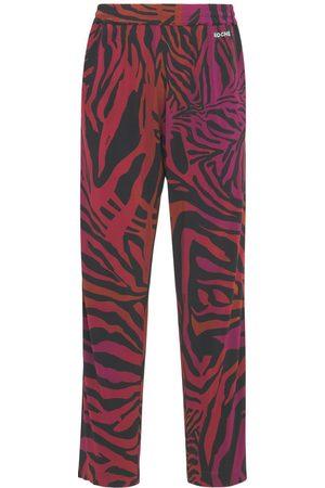 KOCHÉ Herre Joggebukser - Tiger Print Viscose Jersey Sweatpants