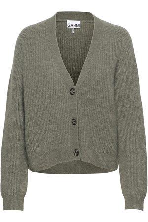 Ganni Soft Wool Knit Strikkegenser Cardigan Grønn