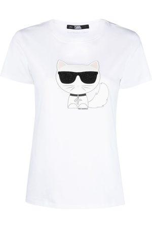 Karl Lagerfeld Dame Kortermede - Sequin cat print T-shirt