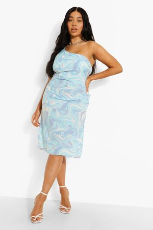 Boohoo Plus One Shoulder Cowl Neck Printed Slip Dress