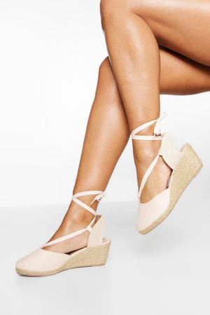 Boohoo Wide Fit Wrap Up Canvas Wedges