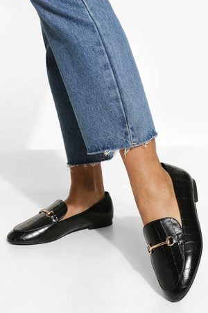 Boohoo Wide Fit Croc T Bar Loafers