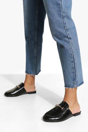 Boohoo Wide Fit Croc T Bar Mule Loafers
