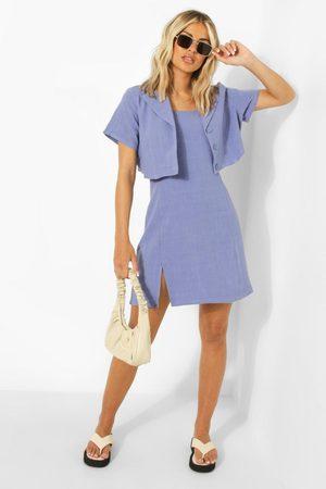 Boohoo Linen Mix Ruffle Shoulder Slip Dress