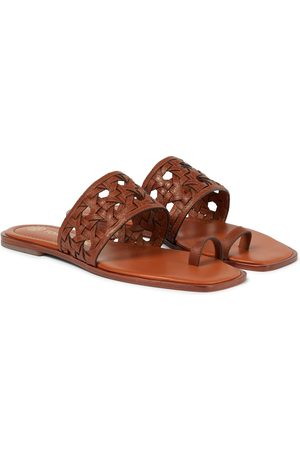 Tory Burch Caning leather slides