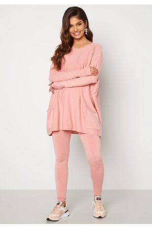Blue Vanilla Dame Loungewear - Knitted Batwing Jumper Lounge Set Pink M/L