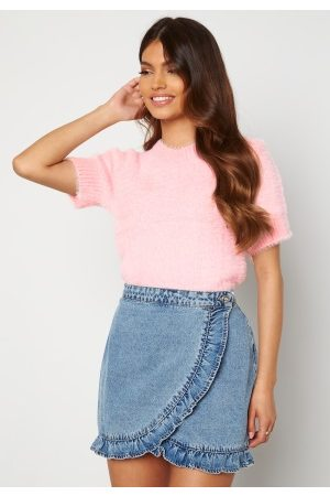 Blue Vanilla Dame Topper - Fluffy Knit Top Pink S/M