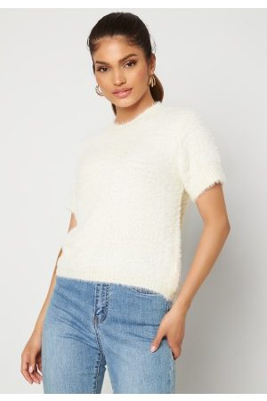 Blue Vanilla Dame Topper - Fluffy Knit Top Ivory S/M